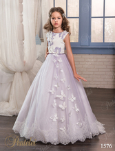 Purple Lace Flower Girls Dresses For Weddings 2017 Beads Appliques First Communion Dress Little Girls Pageant