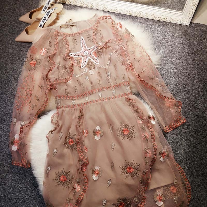 New Heavy beaded embroidery lace dress with flounces slim slim party dress female summer 2018