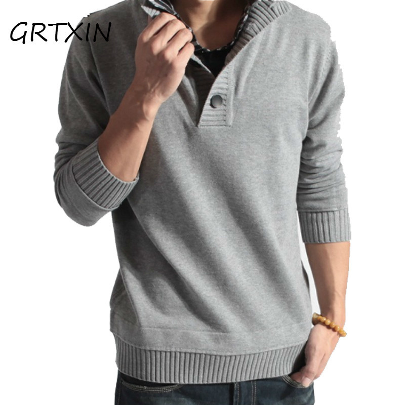2018 New Mens Round Neck Gradient Color Sweater Fashion Men Cotton Long Sleeve Sweater Male M-2XL Autumn Winterv
