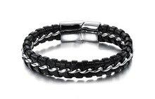 Korean Jewelry Hot Sales Personality Trend Men Braid Leather Bracelet Ph898