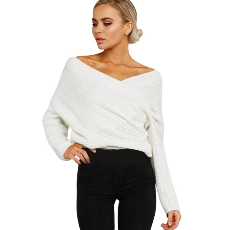 Women Sexy Deep V Neck Off Shoulder Batwing Sleeve Jumper Pullover ...