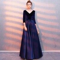 2019 три четверти рукава v-образный вырез вечерние платья длинный Пол Длина эластичный атлас Формальное вечернее платье для женщин