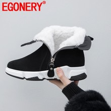EGONERY wolle plüsch schnee stiefel frau kuh wildleder stiefeletten outdoor wanderschuhe flache plattform Casual booties 35-42 plus größe(China)