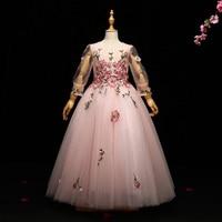 Королевский Платье принцессы для девочек с вышивкой и длинными рукавами бальное платье пол Длина Платье в цветочек для девочек платье для п