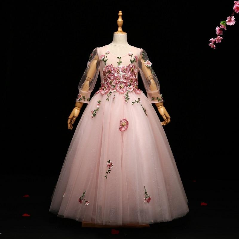 Королевское детское платье принцессы для девочек бальное платье с длинными рукавами и вышивкой, длина до пола, платья с цветочным узором дл