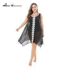 Lan Karswear Cover Up Bikini Summer Swimsuit Sexy See-through Beach Dress Plus Size Black Clothes XL-XXXL