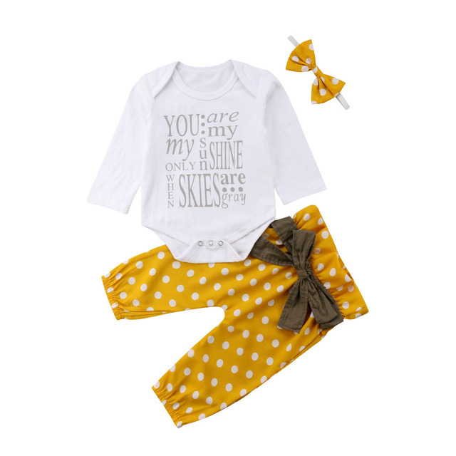 3 piezas recién nacido bebé niña algodón Tops Romper puntos Bowknot pantalones trajes ropa