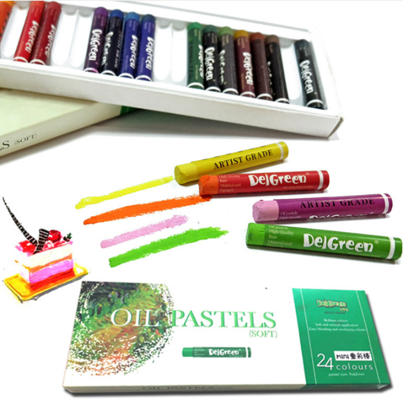 DelGreen 24 Colors Heavy Color Oil Pastels MINI Set Children Oil Painting Stick  Colorful Bright Soft Crayon School Art Supplies