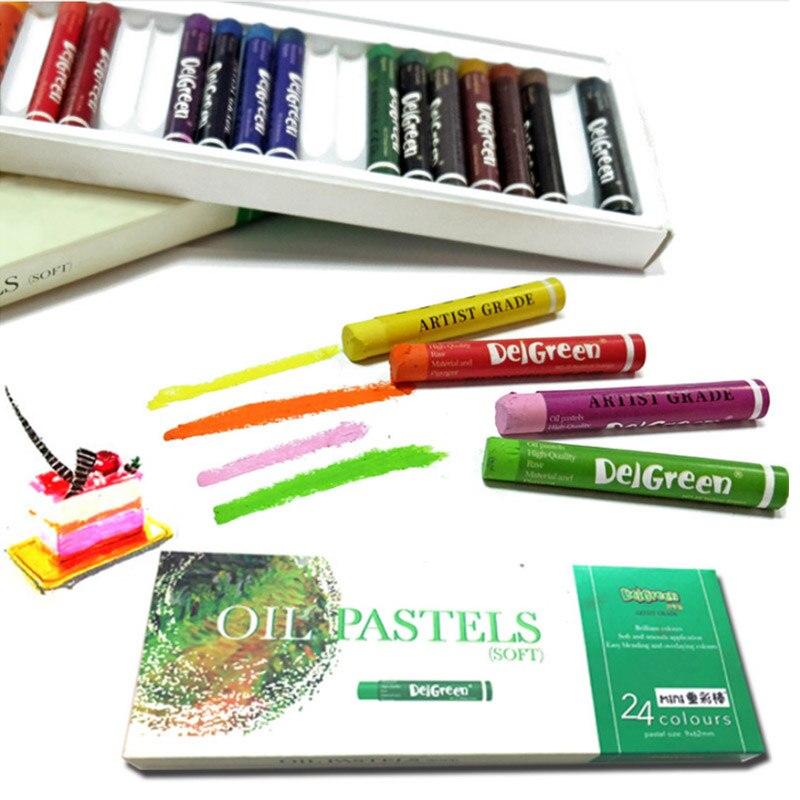 DelGreen 24 Colors Heavy Color Oil Pastels MINI Set Children Oil Painting Stick  Colorful Bright Soft Crayon School Art Supplies
