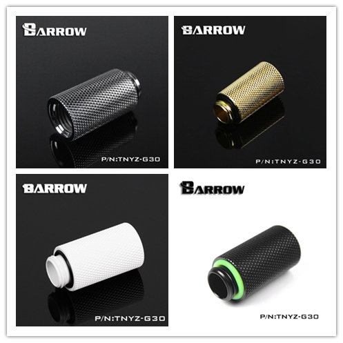 Original Barrow TNYZ-G30 G1/4 ' White Black Silver Gold extension Female thread screw 30MM water cooler PC block joint fittings