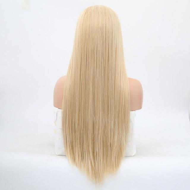 Charyzma peruki blond długie proste włosy syntetyczna koronka peruka front odporne na ciepło przedziałek z boku Glueless peruki dla kobiet