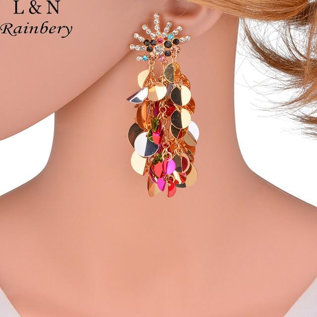 Sequin Multicolor Dangling Crystal Statement Necklace edCxSzBn9