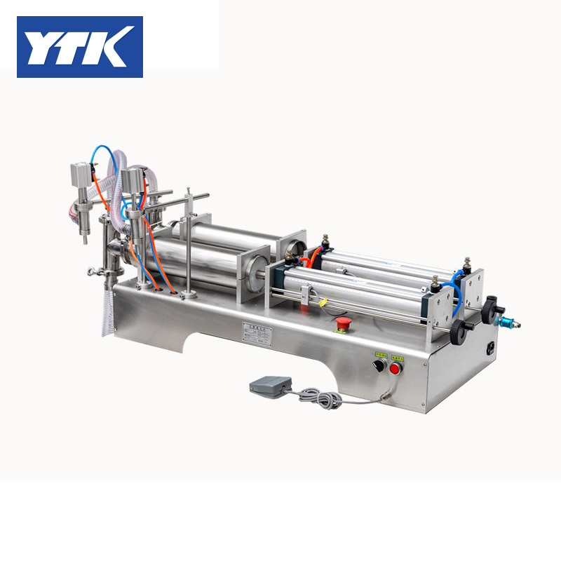 YTK 1000-5000ml Double Head Liquid or Softdrink Pneumatic Filling Machine ytk 25 1200g weighing and filling machine dry powder filling machine for particle or bean or seed or tea grind