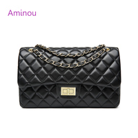 Aminou Luxury Classical Black Chains Women Bag Brand Fashion Pu Leather Handbag Diamond Lattice Lady Shoulder