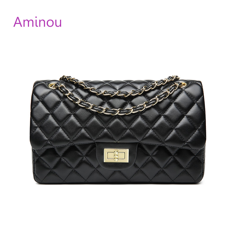 Aminou Luxury Classical Black Chains Women Bag Brand Fashion Pu Leather Handbag Diamond Lattice Lady Shoulder Crossbody Bag