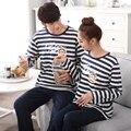 Homens Pijama Sleepwear Homens Sleepwear 2017 Amantes Dos Desenhos Animados Homewear Pijama Listrado Casais Coreano Manga Longa Pijamas Hombre Marca