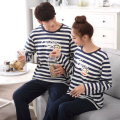 Men Pajamas Sleepwear Striped Pajamas Men Sleepwear 2017 Cartoon Lovers Homewear Couples Korean Long Sleeve Pajamas Hombre Marca