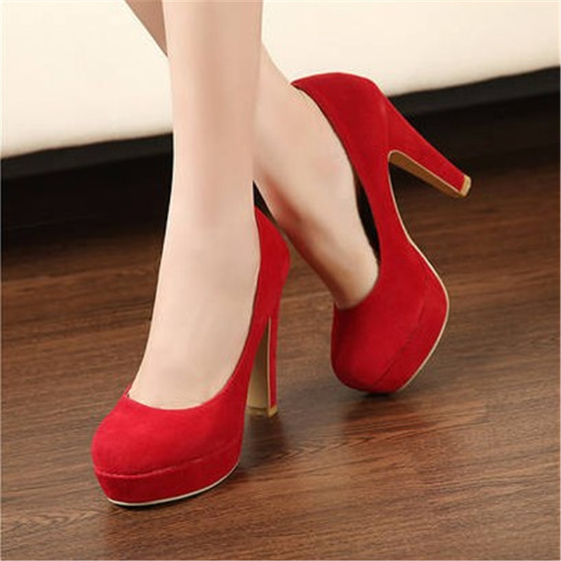 2016 autumn Women's shoes Pumps Single princess round head thick with waterproof suede high heels