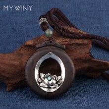 18 colores nuevos colgantes de madera ahuecados collar de joyería vintage, moda vintage flores de metal collar de estilo simple