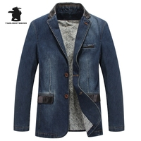 Marka Yeni erkek Denim Blazers Bahar Tasarımcısı Moda PU Yaka Pamuk Casual Blazers Coat Erkekler Artı Boyutu 4XL Dış Giyim B16F3158