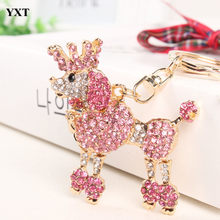 Crown Poodle Dog Keyring Lovely Cute Rhinestone Crystal Pendant Charm Purse HandBag Car Key Chain Birthday Party Gift(China)