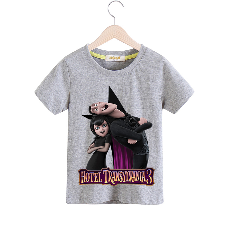 Children 3D Cartoon Hotel Transylvania 3 Print T-shirt Boy Costume Girls Casual Tee Tops Clothes Kids Clothing Baby Tshirt TX117 skull print slashed tee