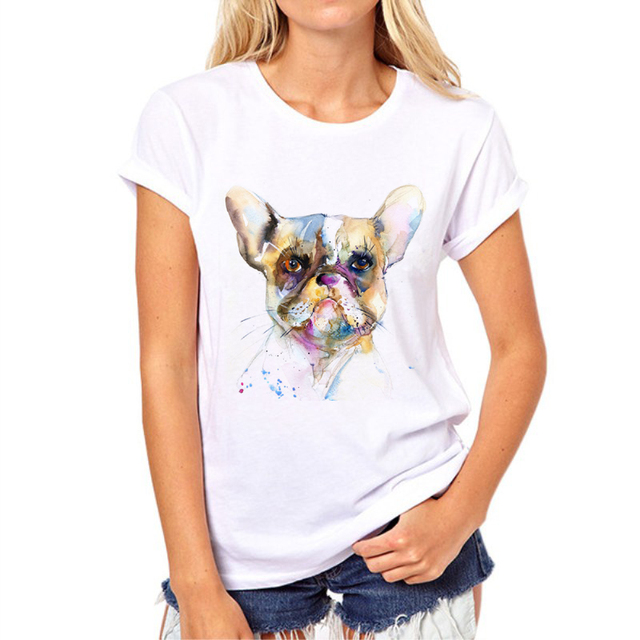 Casual Colorful Dog Patterned T-Shirt