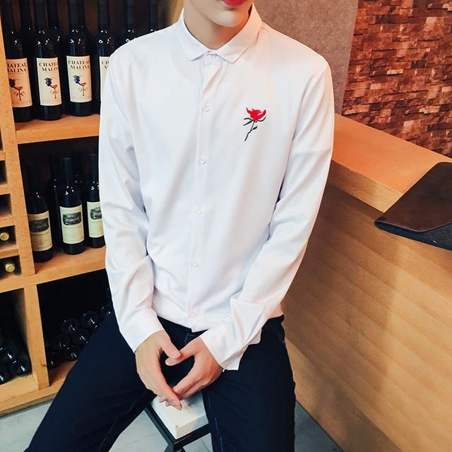 Corea Slim Fit Hombres Camisas Bordado Floral Negro Blanco Largo Camisa de Los Hombres Ocasionales de la manga Niños Equipado Masculina 5XL Camisa Chemise Homme
