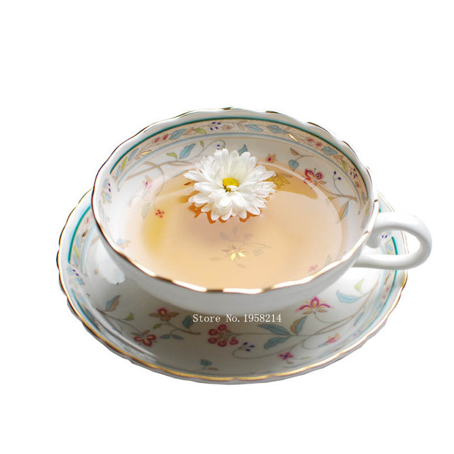 Camellia Bone China Coffee Cups Continental  Contracted Mugs Afternoon Tea Cup Floral Cup Spoon Dish Suits