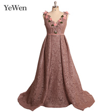 YEWEN Pink Rose Lace Appliques Evening Dresses V-neck Sexy