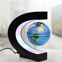 Novelty C shape Magnetic Levitation Floating Globe World Map LED Light Birthday Home Decoration Children Gifts Night Lamp