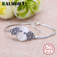 BALMORA 100% Real 925 Sterling Silver Mosaic Flower Gem Bracelets for Women Lover Party Gift Retro Elegant Jewelry MYS40014