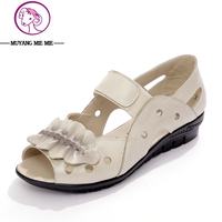 Fish Nose Flat Shoes And Women S Leather Soft Bottom Hollow Mother Sandals Low Summer Women