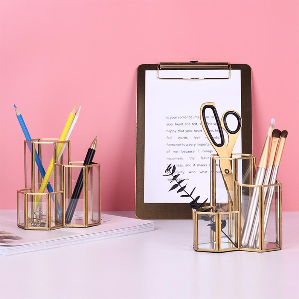 Hollow Three Hexagons Pen Holder Makeup Brushes Vase Storage Box With Nordic Style Home Office Desk Container ToolHollow Three Hexagons Pen Holder Makeup Brushes Vase Storage Box With Nordic Style Home Office Desk Container Tool