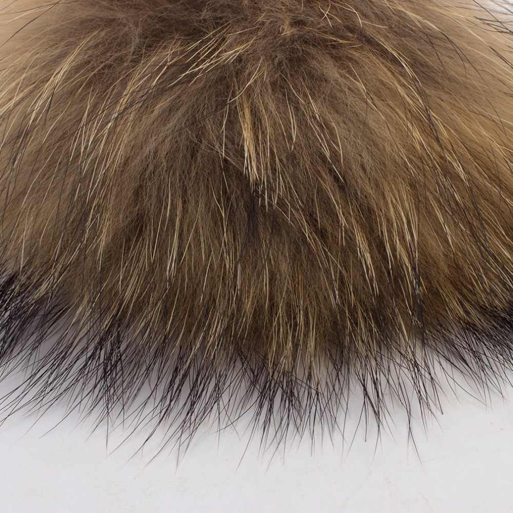 Geebro 1 PCS 15 cm Genuine Natural Raccoon Fur Pompons Grande Bolas de pêlo De Inverno Pom Pom Gorros Acessórios Cachecol De Pele Real GS047