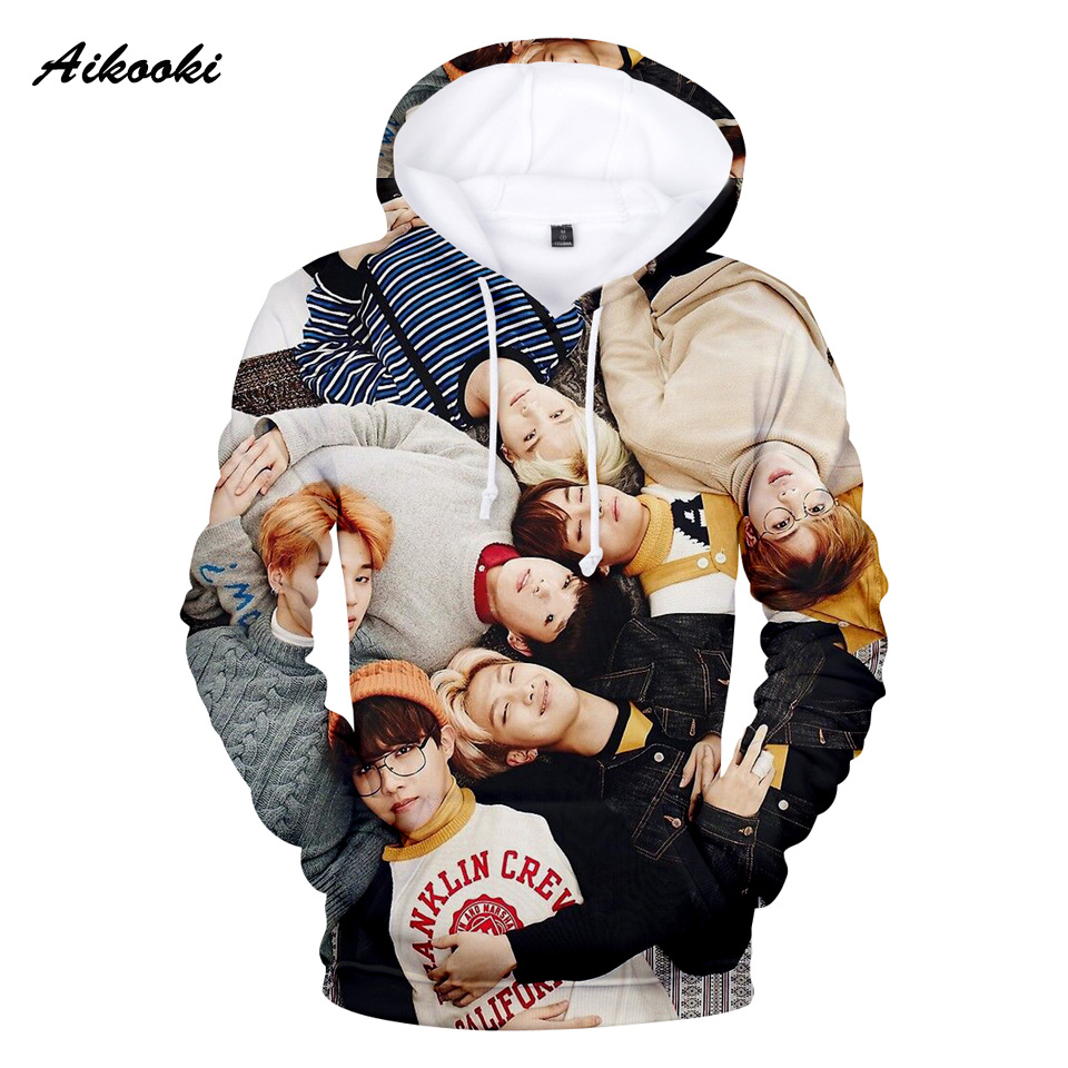 2018 BTS K-pop 3D Hoodies Sweatshirt Mens/Womens Hoodies 3D BTS Fashion Men Hoodies Casual Sweatshirt Polluvers 3D Clothes XXS