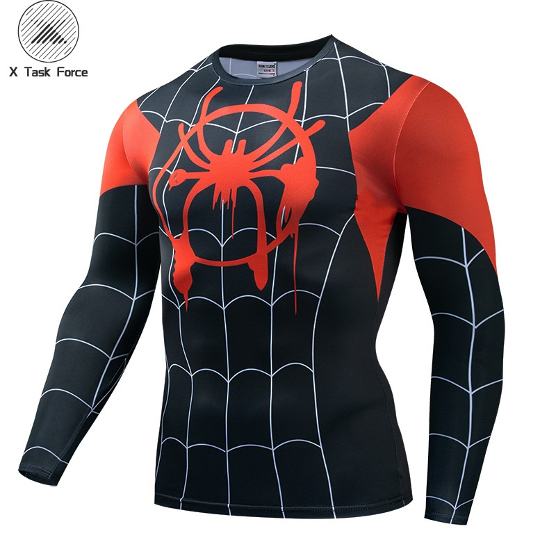 Raglan Sleeve Into The Spider-Verse 3D Printed T Shirts Men Spiderman Compression Shirts 2019 Tops Male Comics Cosplay Costume