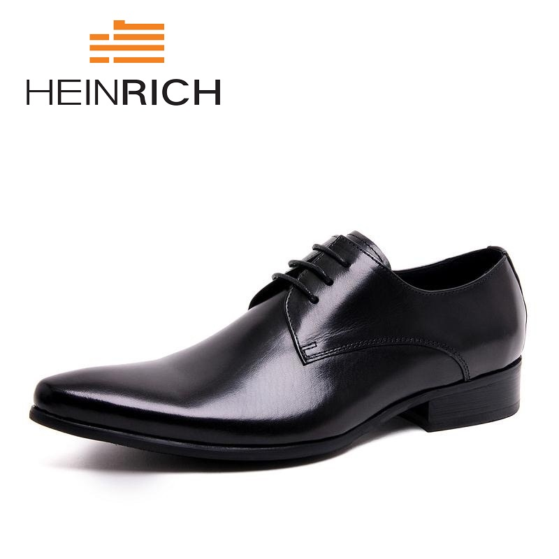 HEINRICH Italian Style Mens Formal Shoes Brand Genuine Leather Comfortable Shoes High Quality Black Men Flats ShoesHEINRICH Italian Style Mens Formal Shoes Brand Genuine Leather Comfortable Shoes High Quality Black Men Flats Shoes