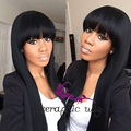 Fashion Long Black Wigs with Bangs Synthetic Wigs for Black Women Heat Resistant Silk Straight Synthetic Lace Front Wig Glueless