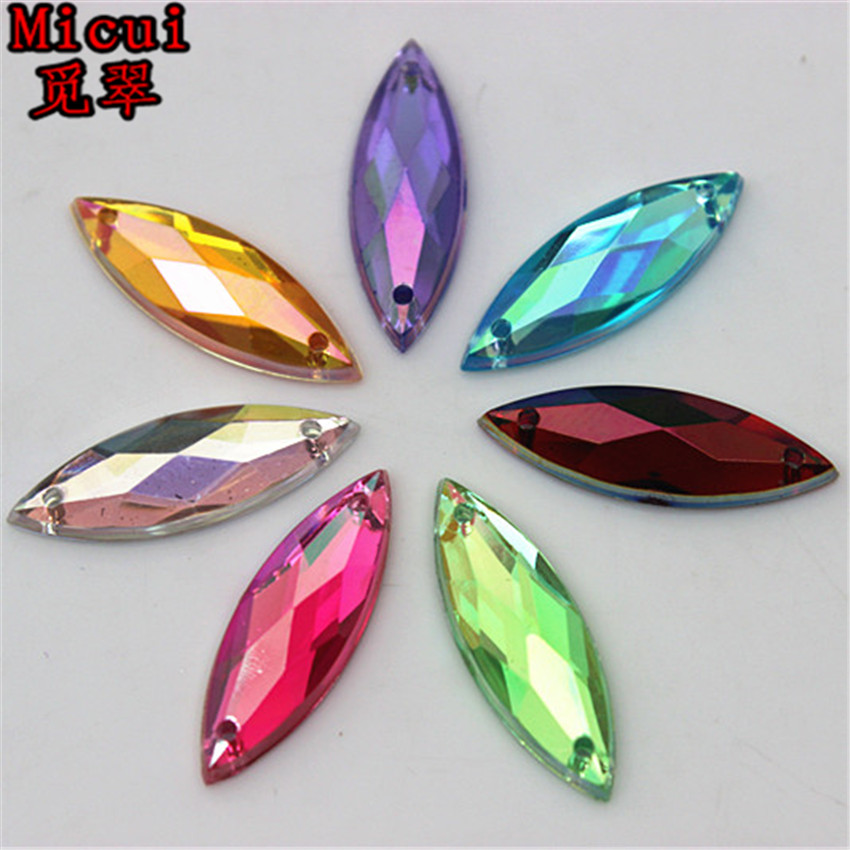 Micui 100PCS 7 21mm AB Horse eye Acrylic Rhinestones Crystal Flat Back  Beads Sew On Stones For Clothing Craft Decoration ZZ337-in Rhinestones from  Home ... 11fa7f63d64f
