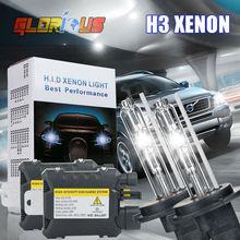 H3 xenon HID kit 55W xenon headlights Car HID Bulbs Slim Ballast H3 lamp 4300k 5000k 6000k 8000k 10000k xenon H3