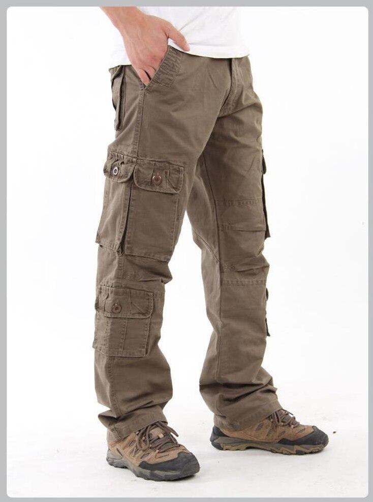 Плюс Размеры Для мужчин Летние Комбинезоны полный Длина мульти-карманы Мотобрюки хлопковые свободные брюки-карго оснастки тактическая сти...