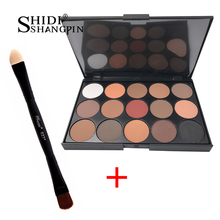 Naked Makeup Set Eye Shadow Palette and Eye Make Up Two Head Brush 15 Colors Matte Shimmer Glitter Waterproof  Sombra eyeshadow palette 125 colors glitter matte naked eye shadow makeup set maquiagem sombra professional make up set by tz brand