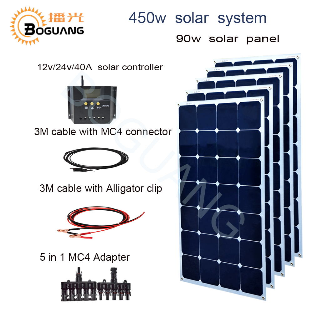 Boguang 450w solar system 90w Aluminum  solar panel kit module cell 30A controller  for 12v battery RV yacht house roof  charge 200w 2x100w mono flexible solar panel solar module energy roof camper rv yacht solar generators