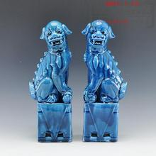 1 pair porcelain foo lion foo dogs ceramic figure statue for home decoration