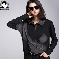 Black Street Clothes Fall 2015 New Punk Style Hip Hop Women Blouses Lapel Stitching Loose Mesh