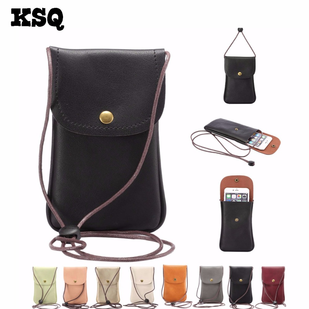 KSQ Universal Leather Cell Phone Bag Shoulder Pocket Wallet Pouch Case Neck Strap Fit Fo ...