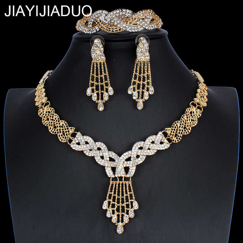 JIAYIJIADUO Dubai Jewelry Set for Women Wedding Dress Accessories Necklace Earrings Bracelet Ring Set 5PS