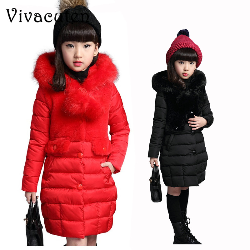 Girls Winter Jackets & Coats New 2018 Fashion Fur Hooded Thick Warm Parka Down Kids Cotton Outwear Coat For Teenage Girl Clothes men warm coats winter snow thick hooded slim fit down parka brand design casual cotton fashion padded outwear sl e437