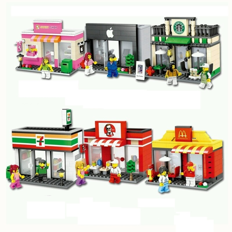 Mini City Street Blocks Building Street Blocks Sets Compatible With LegoING City Streets Scene Architecture Building